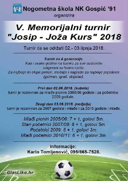 Najava - 5. memorijalni turnir Josip - Joža Kurs 2018.