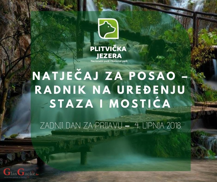 Plitvička jezera traže NKV radnike za održavanje staza i mostića
