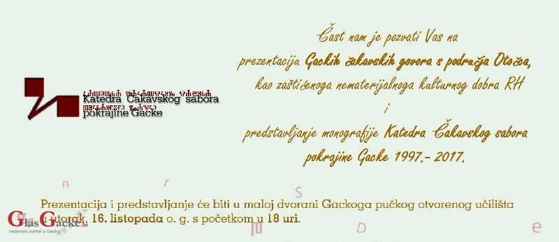 Prezentacija Gackih čakavskih govora i monografije - 18. listopada