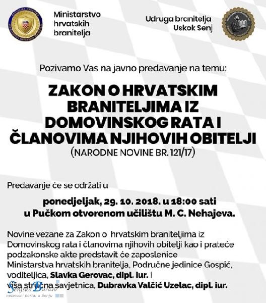 Javno predavanje – Zakon o hrvatskim braniteljima iz Domovinskog rata i članovima njihovih obitelji