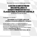 Javno predavanje o Zakonu o hrvatskim braniteljima iz Domovinskog rata i članovima njihovih obitelji 29. listopada 2018. u Senju