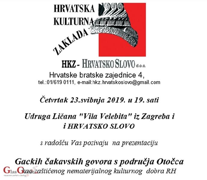 Večeras u Zagrebu prezentacija Gackih čakavskih govora s područja Otočca