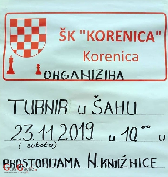 Danas šahovski turnir u Korenici