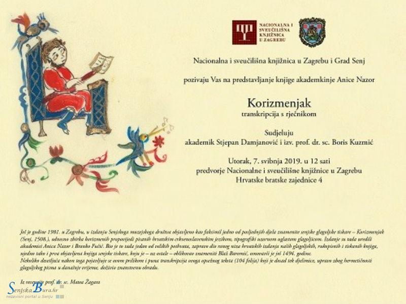 Predstavljanje transkripcije senjskoga Korizmenjaka iz 1508. godine u NSK